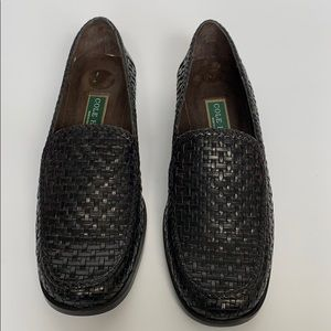 COLE HAAN Black Leather Basket Weave Loafer